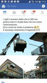 Viagrande, la Fiat 500 sul balcone. Mezza bufala, mezza no