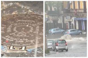 Paternò, 'fontana' di acqua in Piazza Vittorio Veneto: il maltempo fa saltare i tombini (VIDEO)