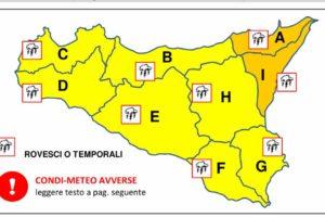 Allerta meteo gialla in Sicilia. Arancione a Catania e Messina: rischio piogge, grandinate e raffiche di vento