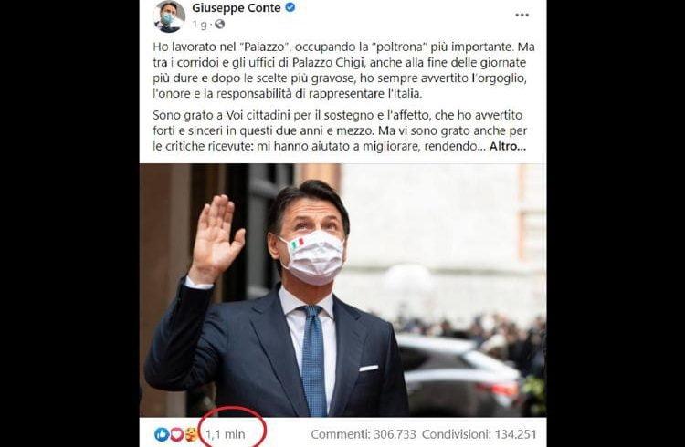 Social, oltre 1 milione di 'mi piace' per l'addio di Conte su Facebook: è il più cliccato per un politico