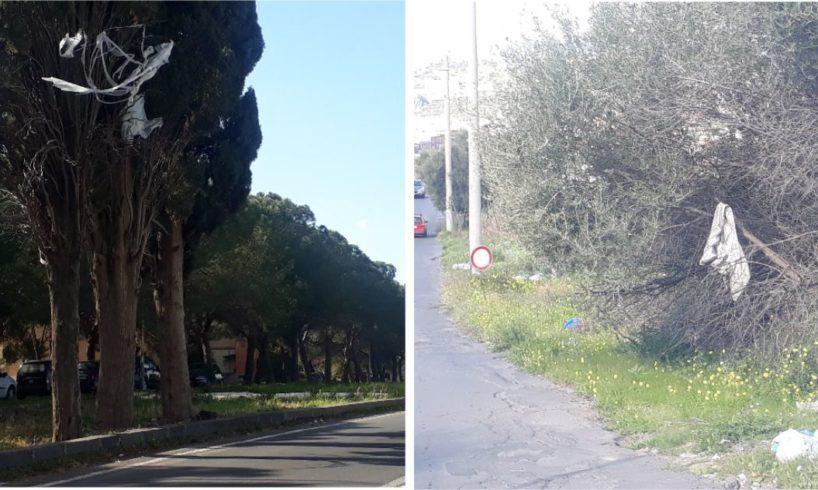 Paternò, gli alberi dell'immondizia: rifiuti disseminati in molti angoli della città